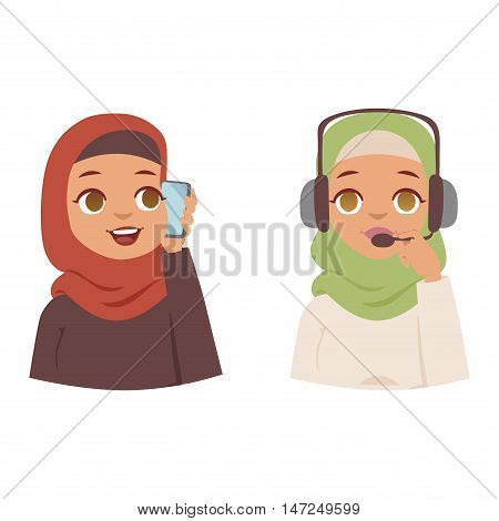 Muslim religious women traditional islamic adult. Cute cartoon arabic girl traditional dress pretty ethnicity religious people. Arabic women ethnic portrait beautiful hijab.