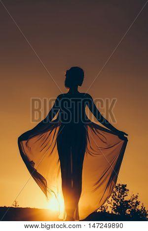 Silhouette Of Girl Over Sunset