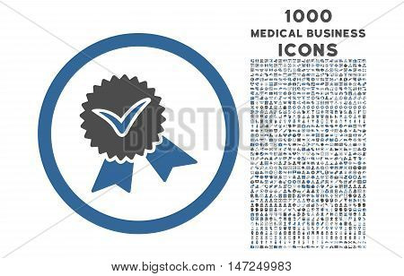 Validation Seal rounded vector bicolor icon with 1000 medical business icons. Set style is flat pictograms, cobalt and gray colors, white background.