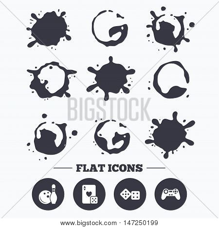 Paint, coffee or milk splash blots. Bowling and Casino icons. Video game joystick and playing card with dice symbols. Entertainment signs. Smudges splashes drops. Vector
