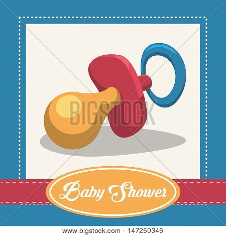 Baby pacifier icon. Baby shower invitation card. Colorful design. Vector illustration