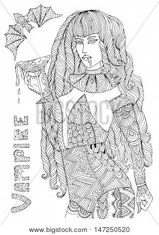 Vector hand drawn female vampire in sexy costume holding a glass of dripping blood. Halloween autumn costume party. Pattern for coloring book A4 size. Coloring book for adults. Zentangle drawing.