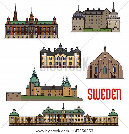 Historic architecture landmarks icons of Sweden. Showplaces detailed icons of Vadstena Abbey, Malmo Town Hall, Kalmar, Orebro, Stromsholm Castle, Drottningholm Palace for print, souvenirs, postcards, decoration