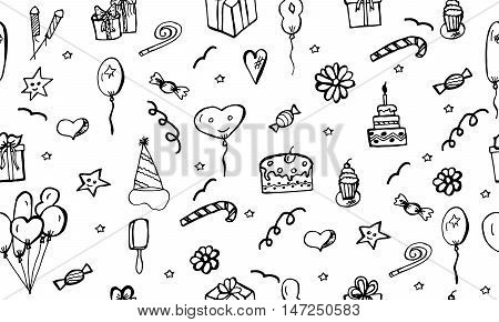 Happy Birthday vector pattern. Doodle drawing illustration. Child background with celebration elements. Sketch hand drawn seamless background. Children's party. Design doodles.