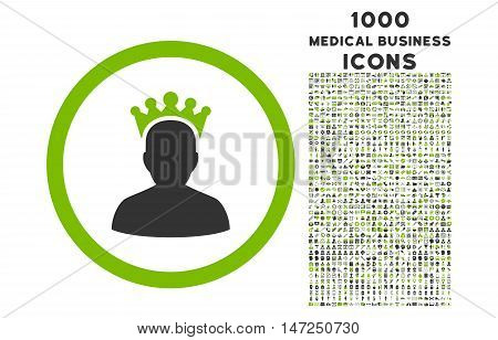King rounded vector bicolor icon with 1000 medical business icons. Set style is flat pictograms, eco green and gray colors, white background.