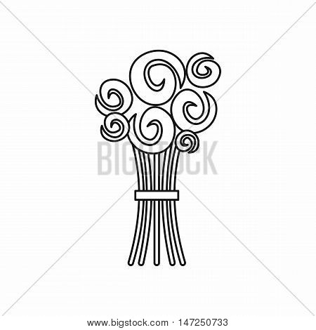 Bridal bouquet of roses icon in outline style isolated on white background vector illustration