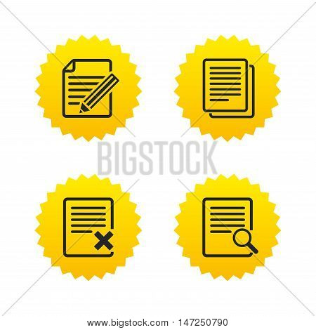 File document icons. Search or find symbol. Edit content with pencil sign. Remove or delete file. Yellow stars labels with flat icons. Vector