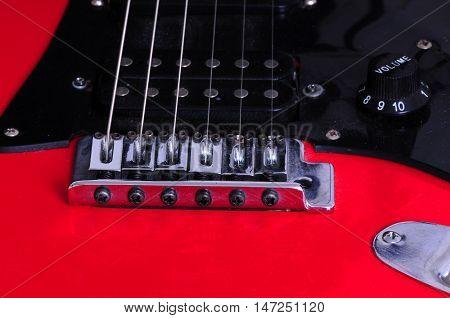 Extreme closeup macro of an electric guitar
