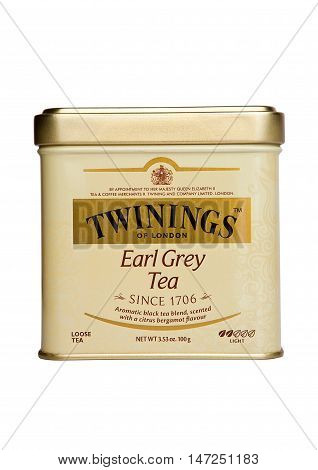 LONDON UK -SEPTEMBER 11 2016: Twinings Earl Grey tea isolated on white background