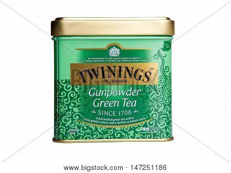 LONDON UK -SEPTEMBER 11 2016: Twinings Gunpowder Green tea isolated on white background