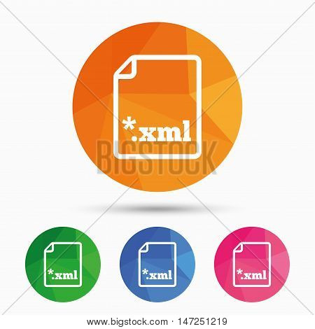 File document icon. Download XML button. XML file extension symbol. Triangular low poly button with flat icon. Vector