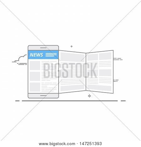 Concept of using a mobile device to read news on the internet portal or through the mobile app. Daily or weekly news publication. Vector illustration in a linear style isolated on white background