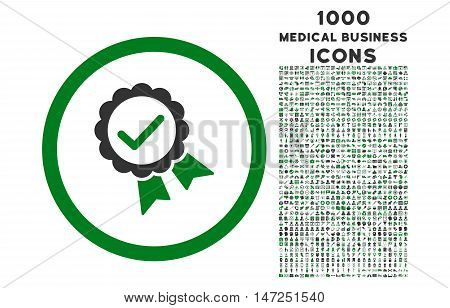 Approved rounded vector bicolor icon with 1000 medical business icons. Set style is flat pictograms, green and gray colors, white background.