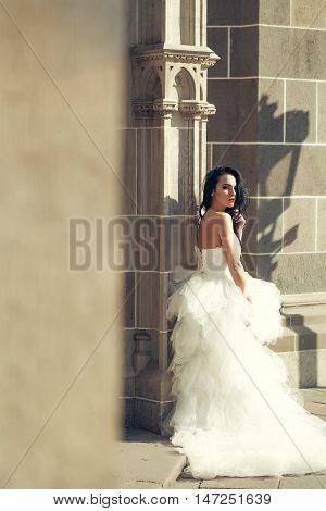 Wedding Sexy Woman Near Stony Building Wall