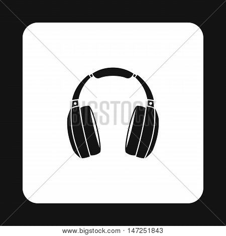 Headphones icon in simple style on a white background vector illustration