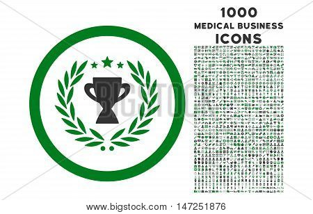 Glory rounded vector bicolor icon with 1000 medical business icons. Set style is flat pictograms, green and gray colors, white background.