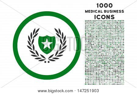 Glory Shield rounded vector bicolor icon with 1000 medical business icons. Set style is flat pictograms, green and gray colors, white background.