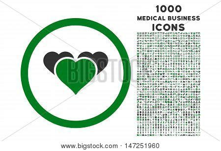 Heart Favourites rounded vector bicolor icon with 1000 medical business icons. Set style is flat pictograms, green and gray colors, white background.