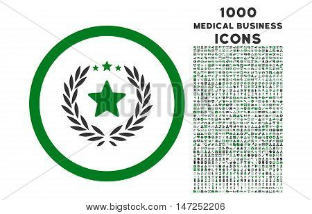 Proud Emblem rounded vector bicolor icon with 1000 medical business icons. Set style is flat pictograms, green and gray colors, white background.
