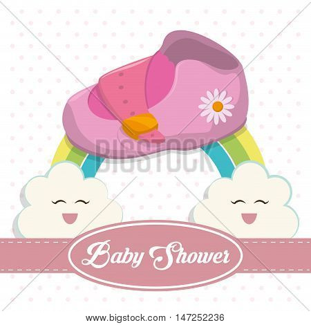 Baby shoe and rainbow icon. Baby shower invitation card. Colorful design. Vector illustration