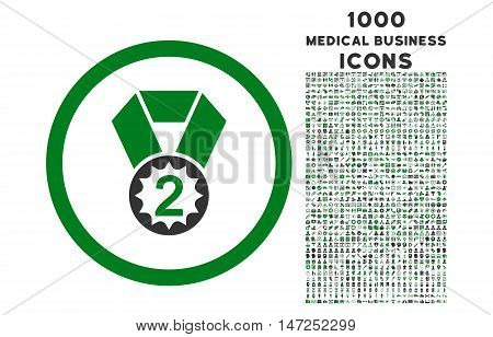 Second Place rounded vector bicolor icon with 1000 medical business icons. Set style is flat pictograms, green and gray colors, white background.