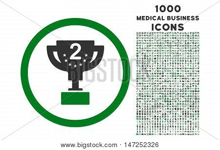 Second Prize rounded vector bicolor icon with 1000 medical business icons. Set style is flat pictograms, green and gray colors, white background.