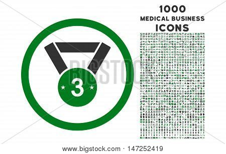 Third Medal rounded vector bicolor icon with 1000 medical business icons. Set style is flat pictograms, green and gray colors, white background.