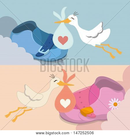 Baby shoe and stork icon. Baby shower invitation card. Colorful design. Vector illustration