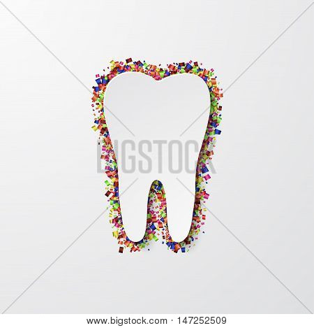 Vector modern tooth with confetti on white background