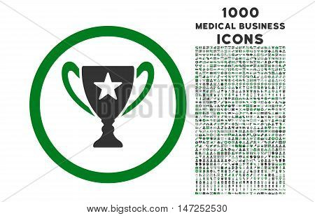 Trophy Cup rounded vector bicolor icon with 1000 medical business icons. Set style is flat pictograms, green and gray colors, white background.