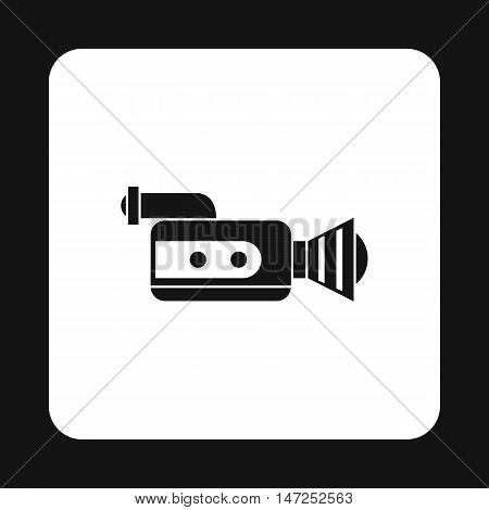 Video camcorder with video cassette icon in simple style on a white background vector illustration