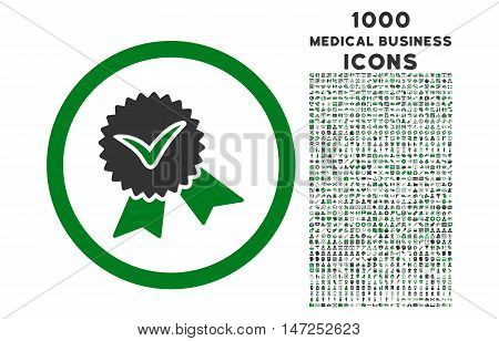 Validation Seal rounded vector bicolor icon with 1000 medical business icons. Set style is flat pictograms, green and gray colors, white background.