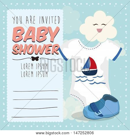 Baby cloth and shoe icon. Baby shower invitation card. Colorful design. Vector illustration