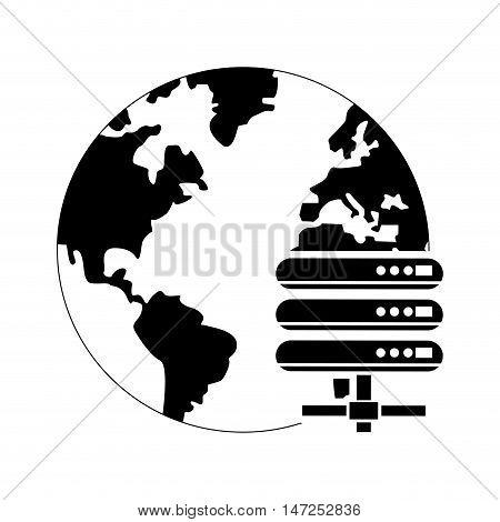flat design earth globe and web hosting icon vector illustration