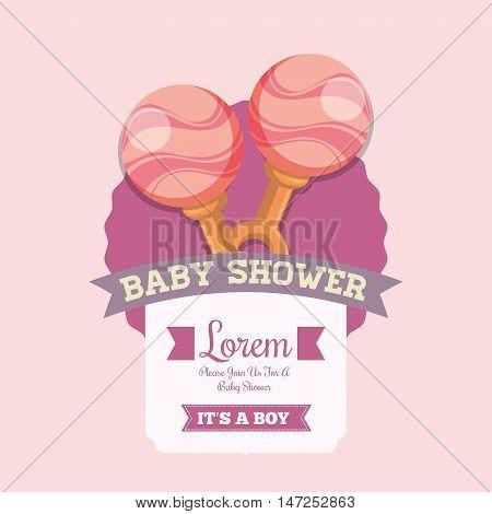 Pink maraca icon. Baby shower invitation card. Colorful design. Vector illustration