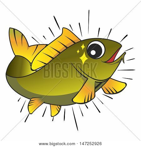 Vector Smart Happy Cartoon Fish Jumping out of Water Isolated on white background