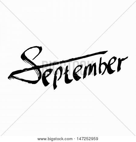 September. Composition Drawing. Perfect Hand Drawn illustration. Hand-lettering Font, word. Greeting card design. Creation logo, poster, banner. Illustrate letters. Script writing. Vector Background.