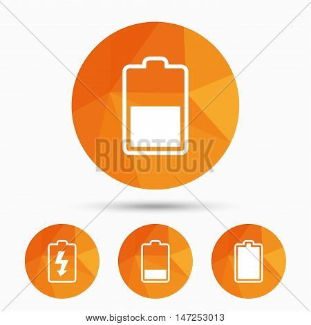 Battery charging icons. Electricity signs symbols. Charge levels: full, half and low. Triangular low poly buttons with shadow. Vector