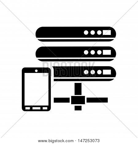 flat design web hosting and cellphone  icon vector illustration