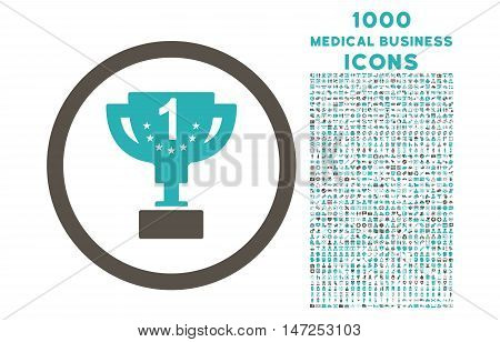 First Prize Cup rounded vector bicolor icon with 1000 medical business icons. Set style is flat pictograms, grey and cyan colors, white background.