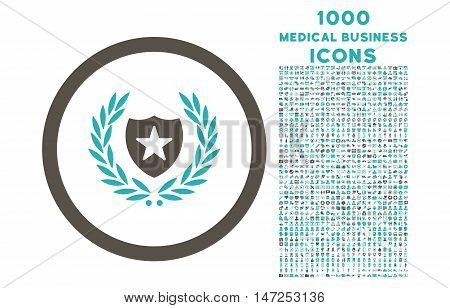 Glory Shield rounded vector bicolor icon with 1000 medical business icons. Set style is flat pictograms, grey and cyan colors, white background.