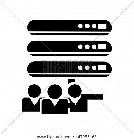 flat design web hosting and users  icon vector illustration