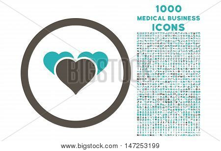 Heart Favourites rounded vector bicolor icon with 1000 medical business icons. Set style is flat pictograms, grey and cyan colors, white background.