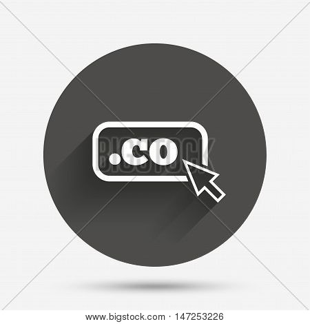 Domain CO sign icon. Top-level internet domain symbol with cursor pointer. Circle flat button with shadow. Vector