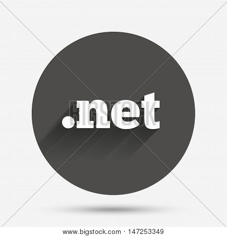Domain NET sign icon. Top-level internet domain symbol. Circle flat button with shadow. Vector