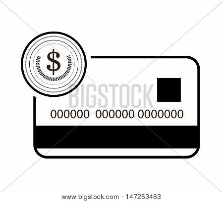 flat design credit or debit card and coin icon  vector illustration
