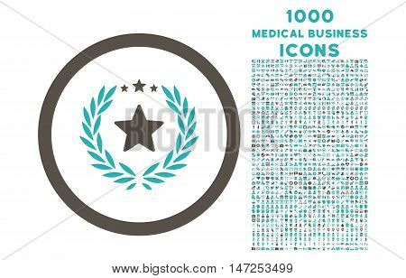 Proud Emblem rounded vector bicolor icon with 1000 medical business icons. Set style is flat pictograms, grey and cyan colors, white background.