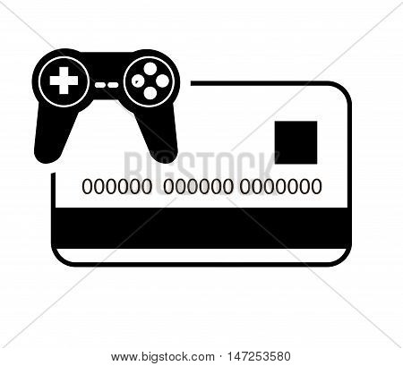 flat design credit or debit card and  game controller icon  vector illustration