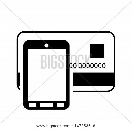flat design credit or debit card and cellphone  icon  vector illustration