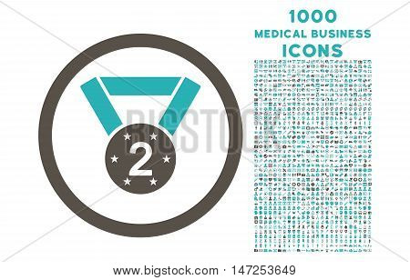 Second Medal rounded vector bicolor icon with 1000 medical business icons. Set style is flat pictograms, grey and cyan colors, white background.